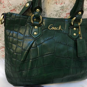 Coach Bags - COACH Forest Green Croco ASHLEY Mini Tote XBody